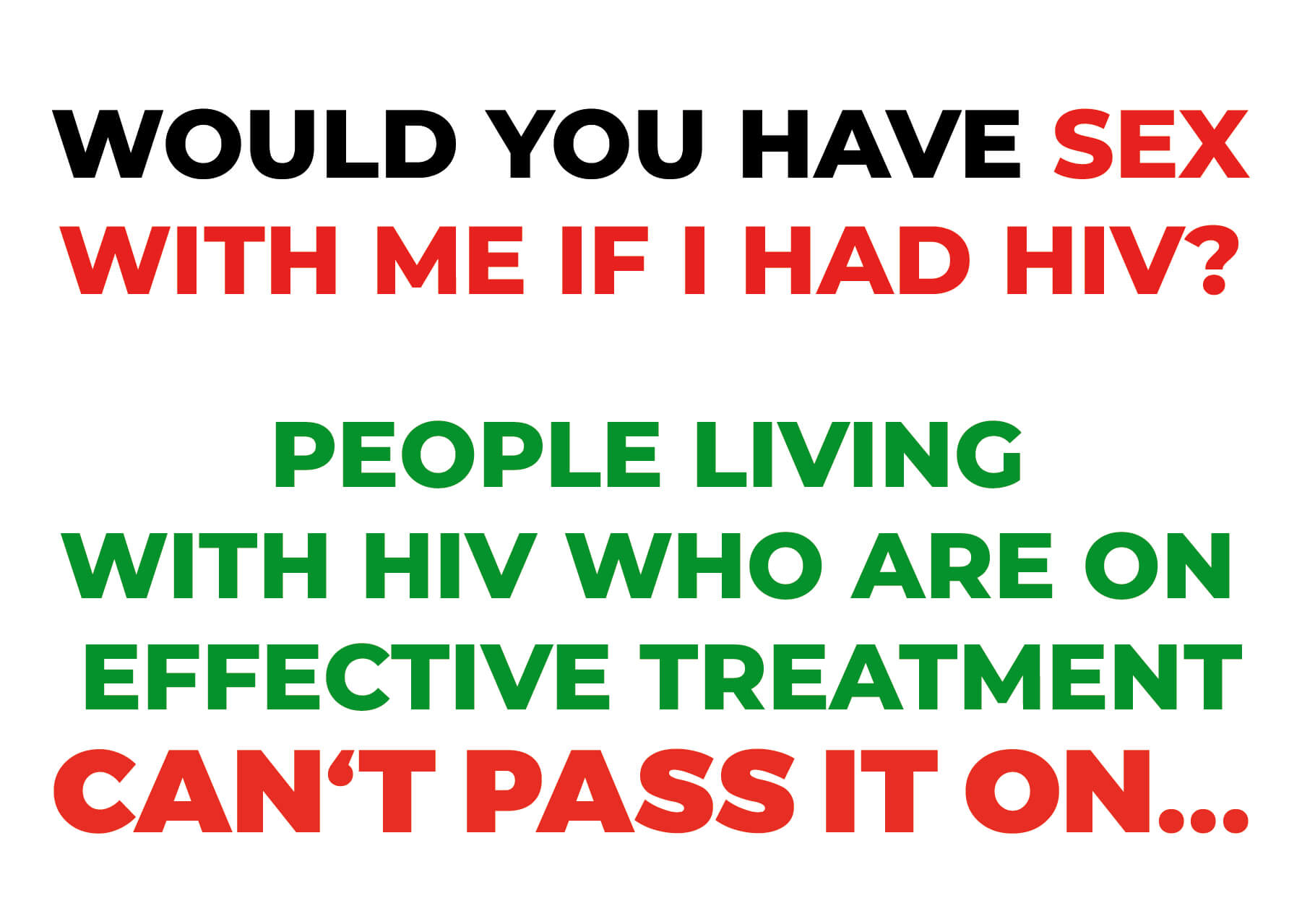 Would you have sex with me if i had HIV? People living with HIV who are on effective treatment can't pass it on...